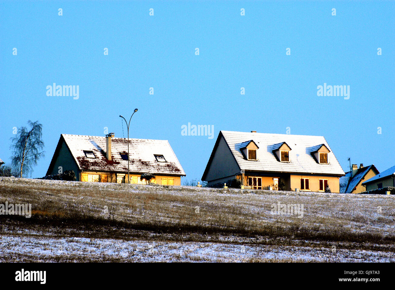 snowy countryside of the French department of Yvelines close to Paris - Stock Image