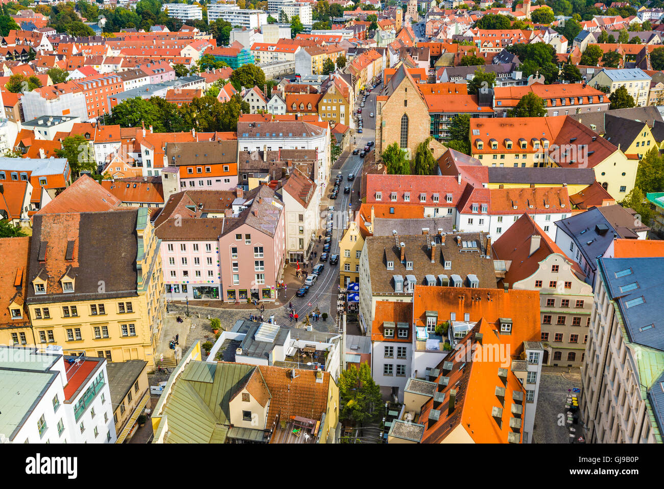 Augsburg, Germany rooftop town view. - Stock Image