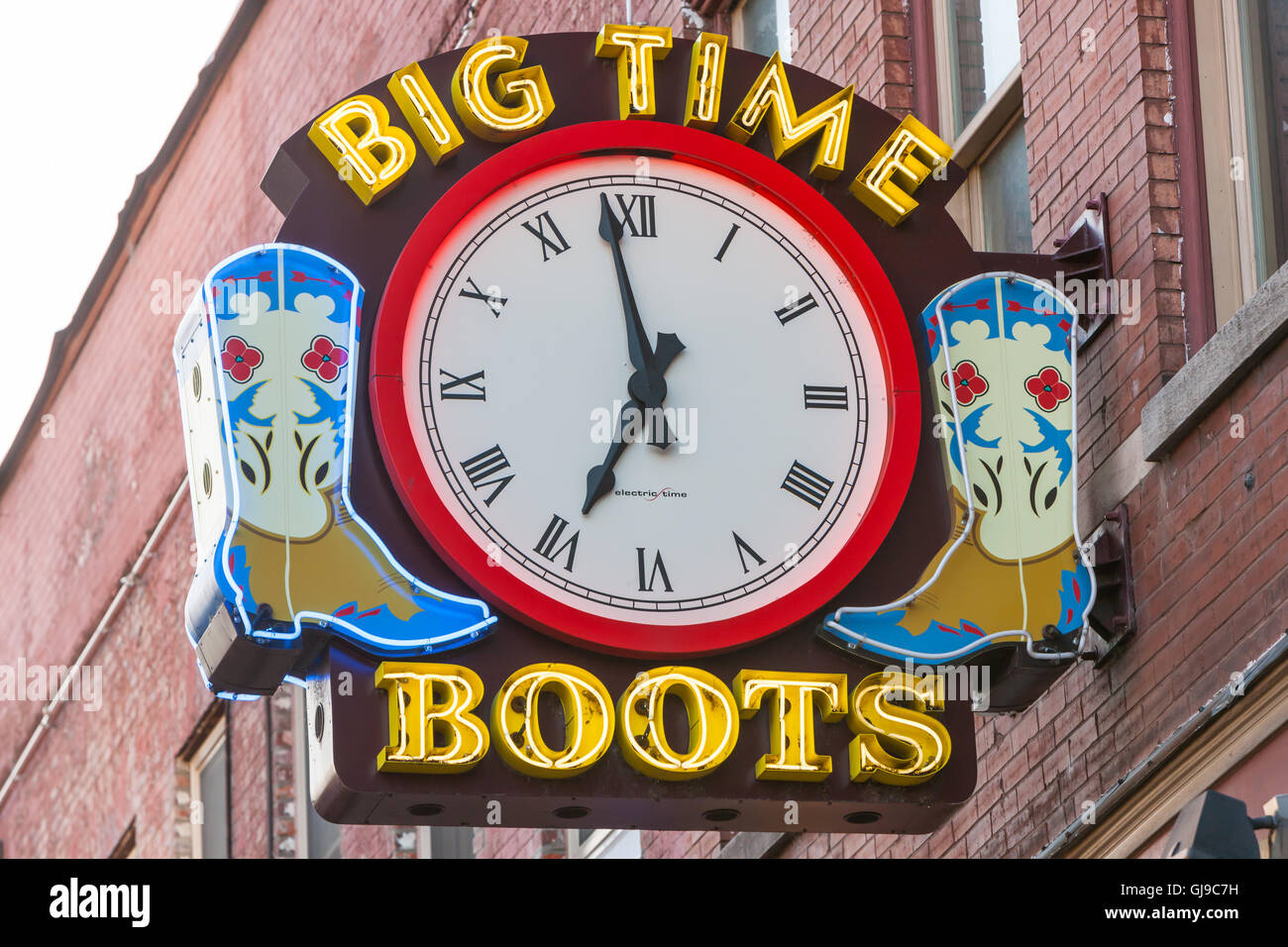 Neon Sign for Big Time Boots store in Nashville, Tennessee. - Stock Image