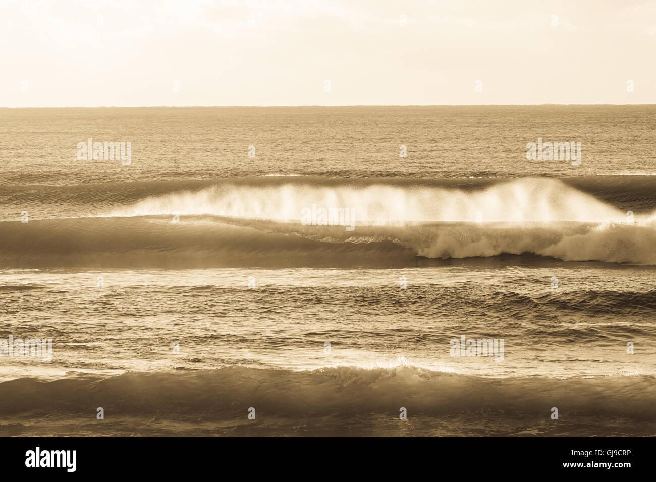 Ocean waves crashing beach coastline vintage antique sepia horizon landscape - Stock Image
