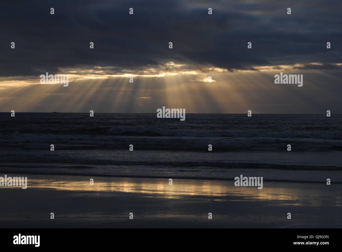 Vakker solnedgang i ytre Lofoten Stock Photo