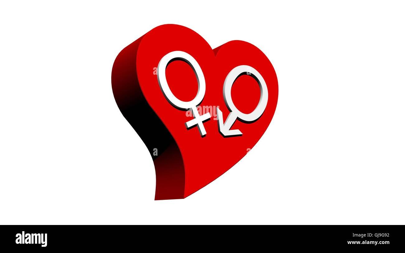 Heterosexual couple in red heart - Stock Image