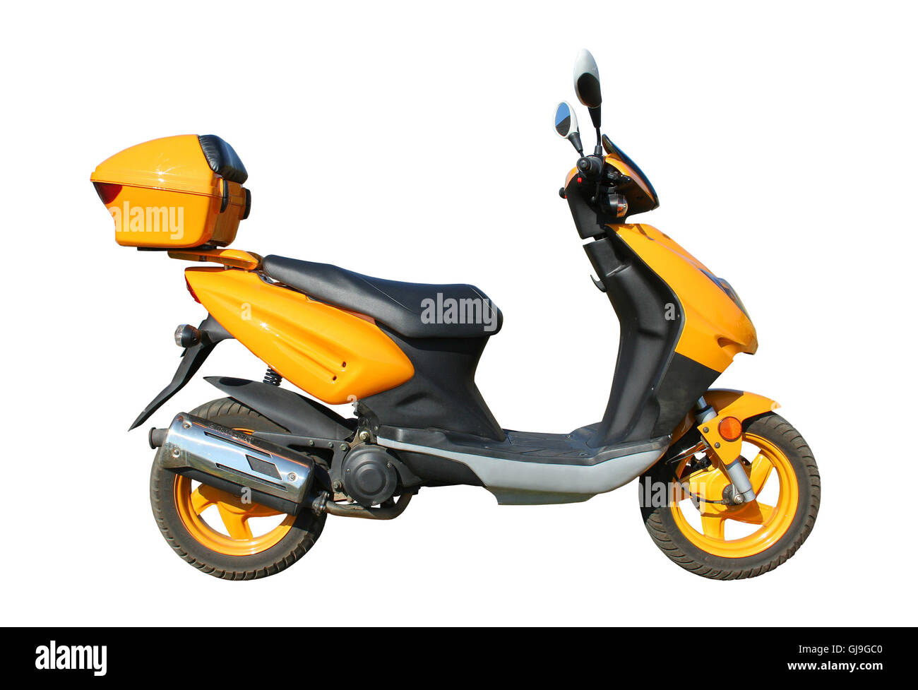 yellow scooter with clipping path - Stock Image