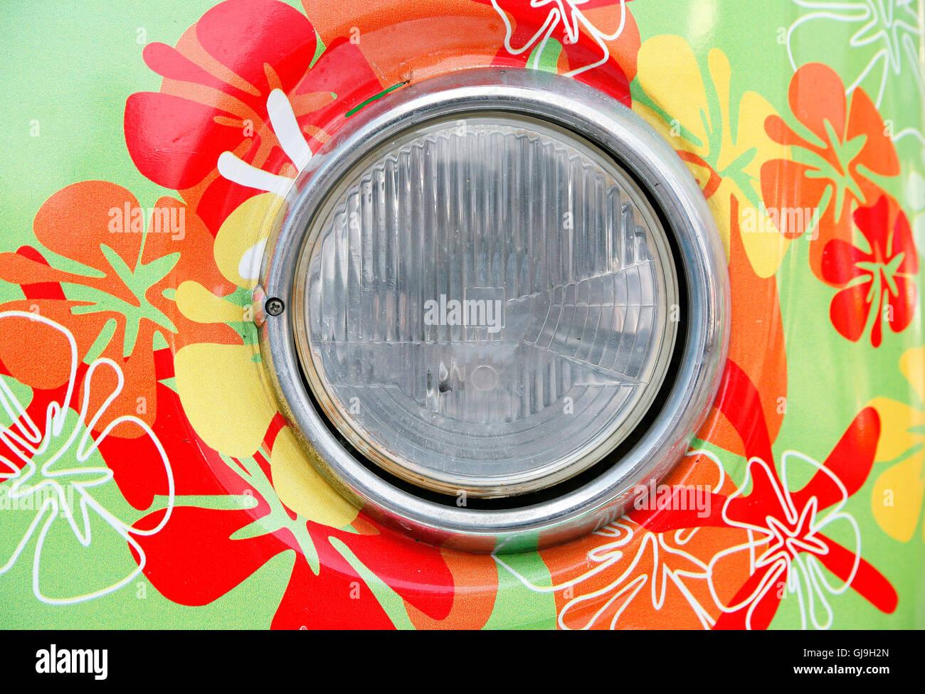 headlamp of hippie car - Stock Image