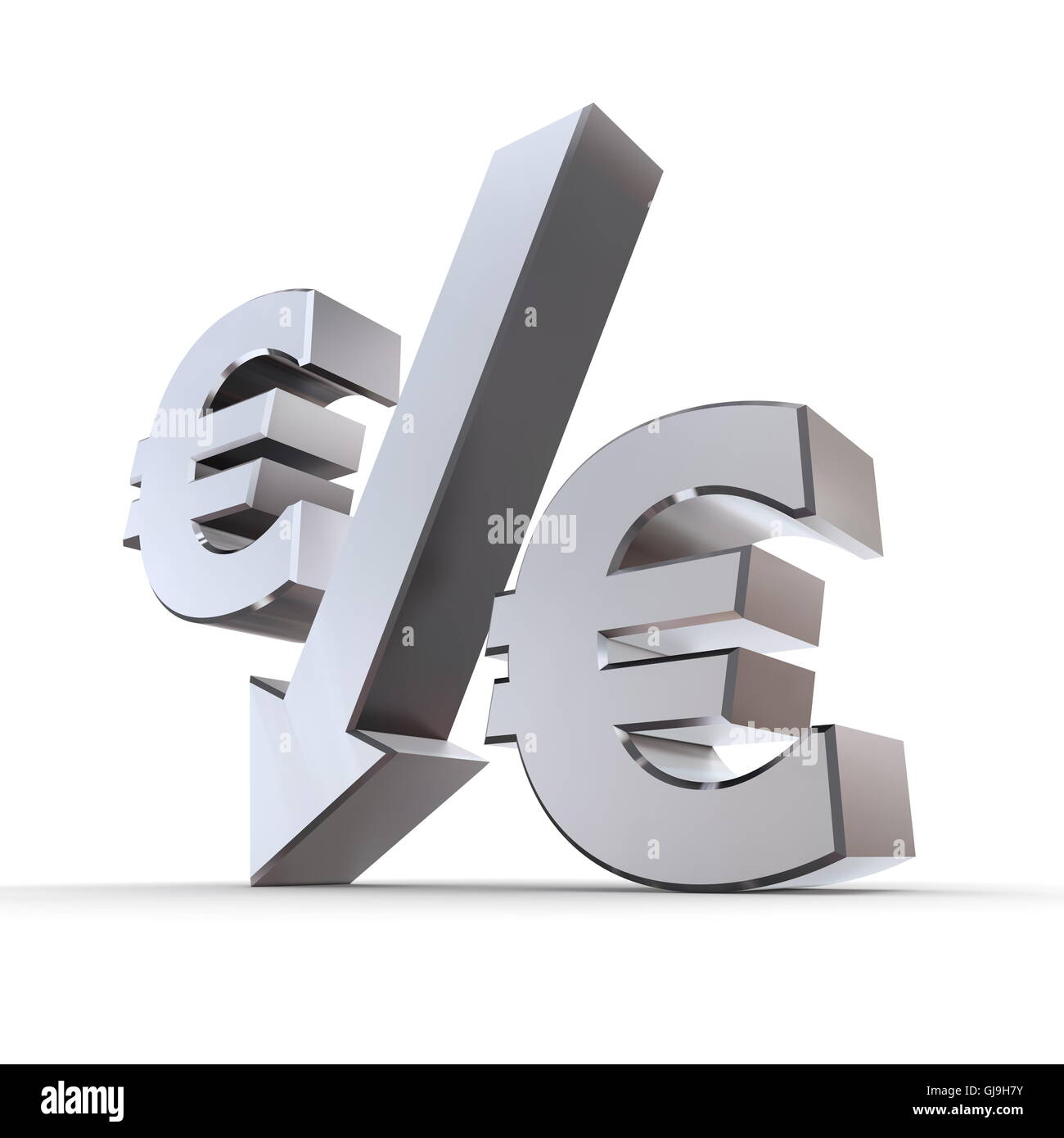 Shiny Euro Percentage Down - Stock Image