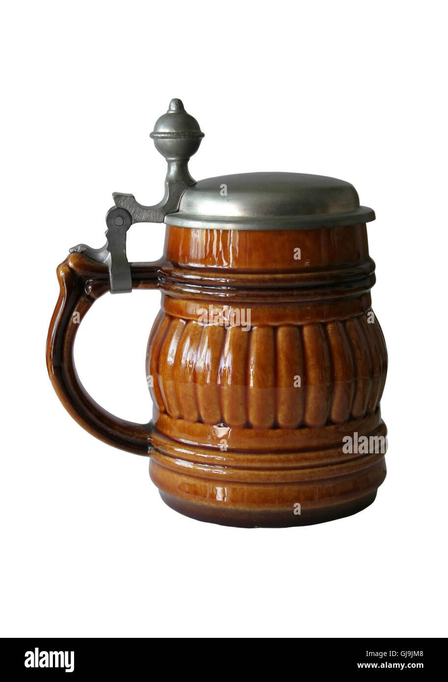 mug of beer isolated - Stock Image