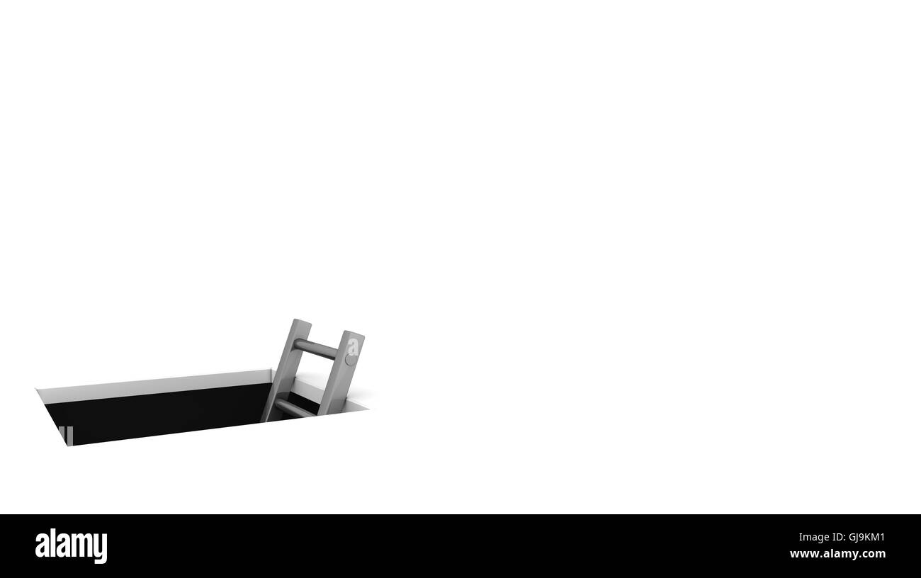 Climb out of the Hole - Shiny Grey Ladder - Whitespace on the Ri - Stock Image