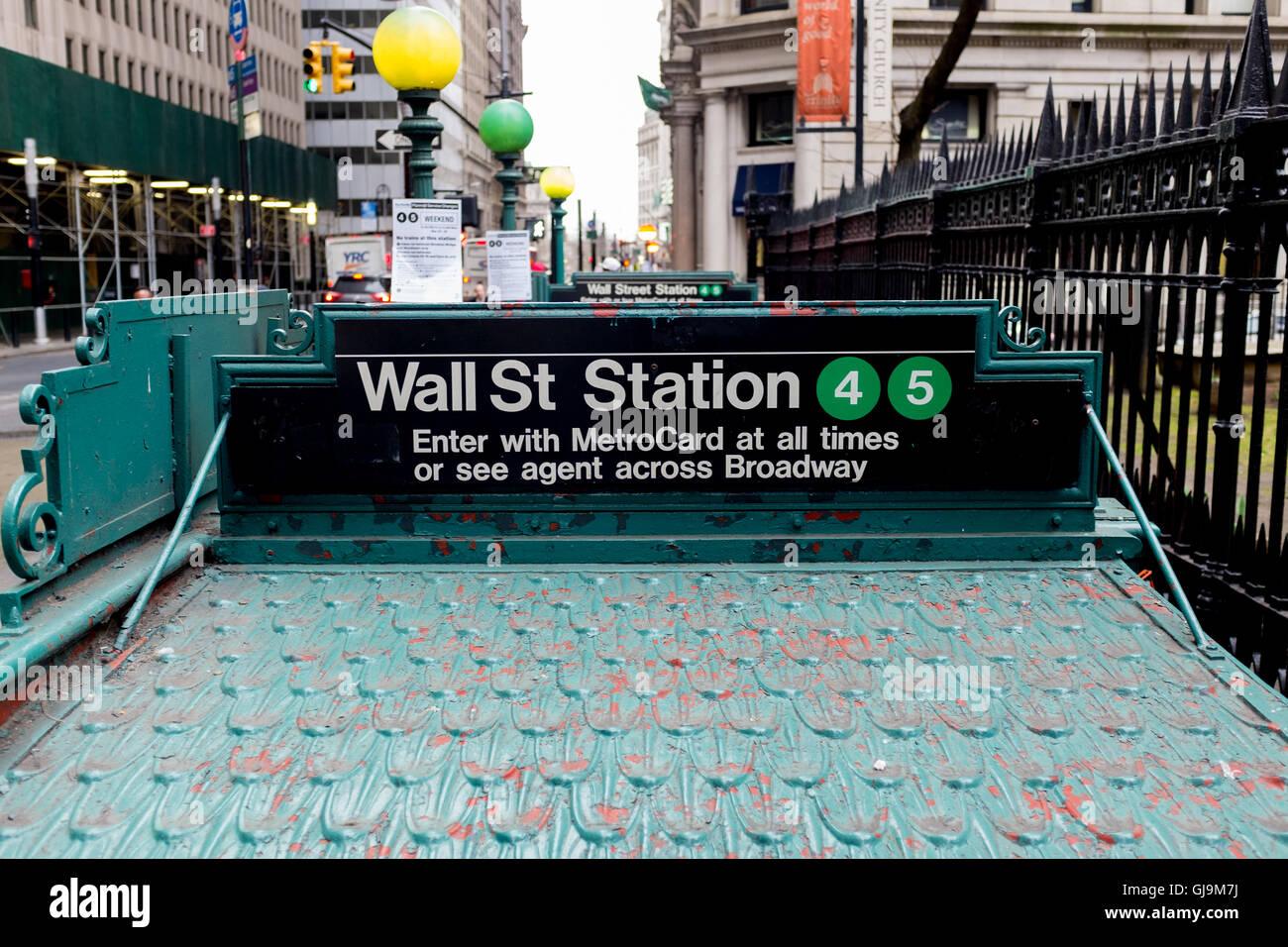New York City USA, Wall Street Subway Station Entrance Stock Photo