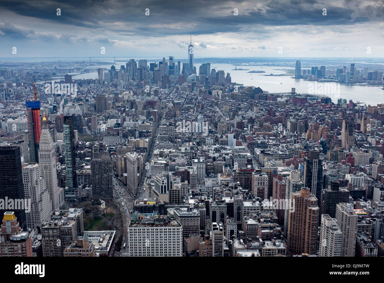 New York City USA View from Empire State Building looking southwards along Manhatten Island. Stock Photo
