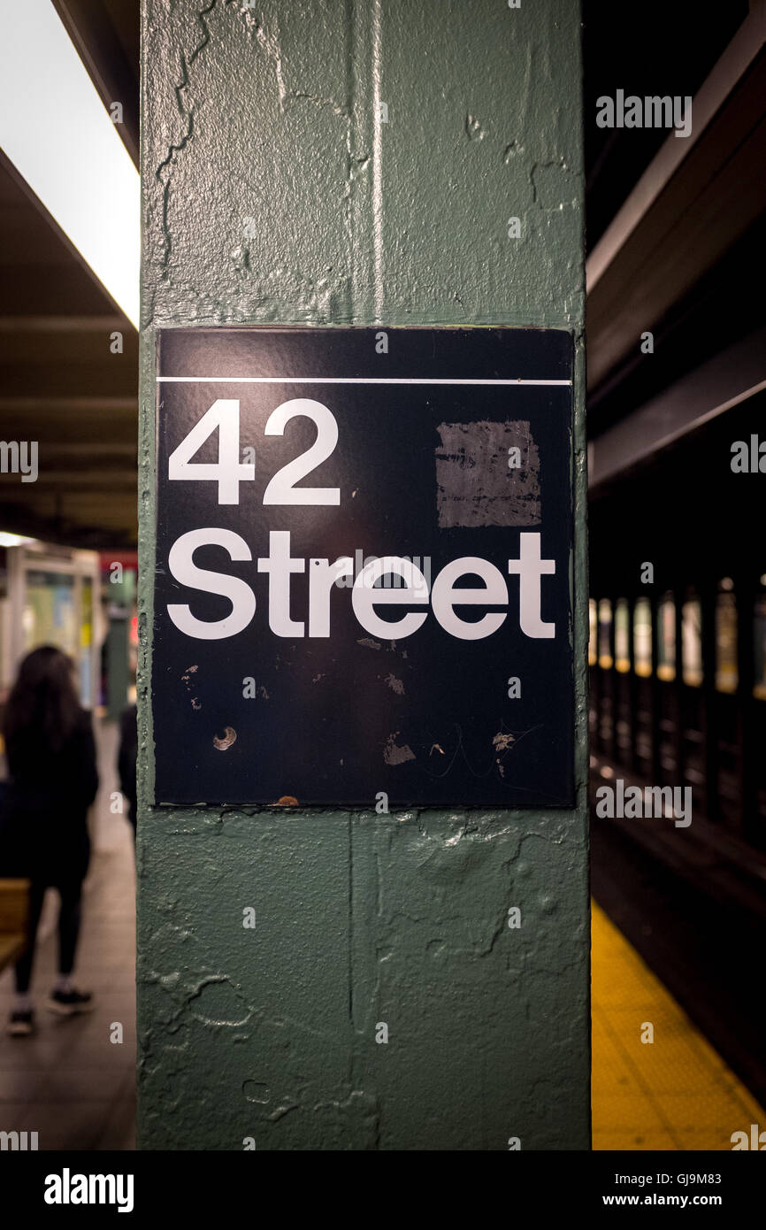 New York City USA 42nd Street Sign, New York City Subway, also a musical. - Stock Image
