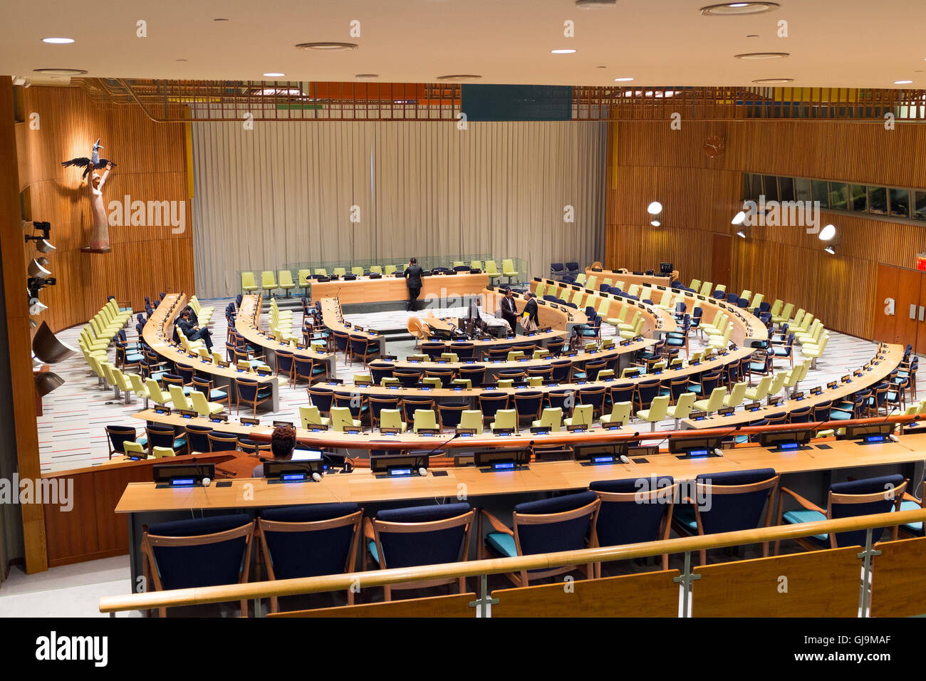 New York City USA United Nations Building. Meeting room. - Stock Image