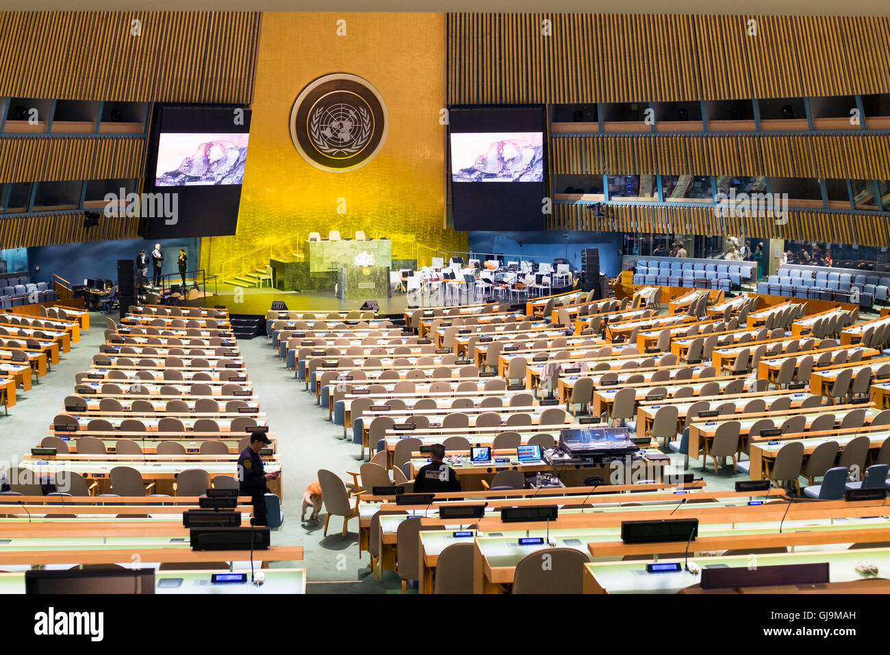 New York City USA United Nations Building Main Assembly Chamber - Stock Image