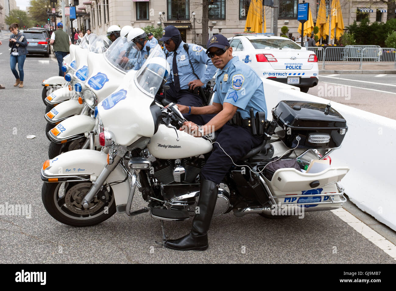Washington DC USA DC Cop on Harley Davidson Stock Photo: 114539579