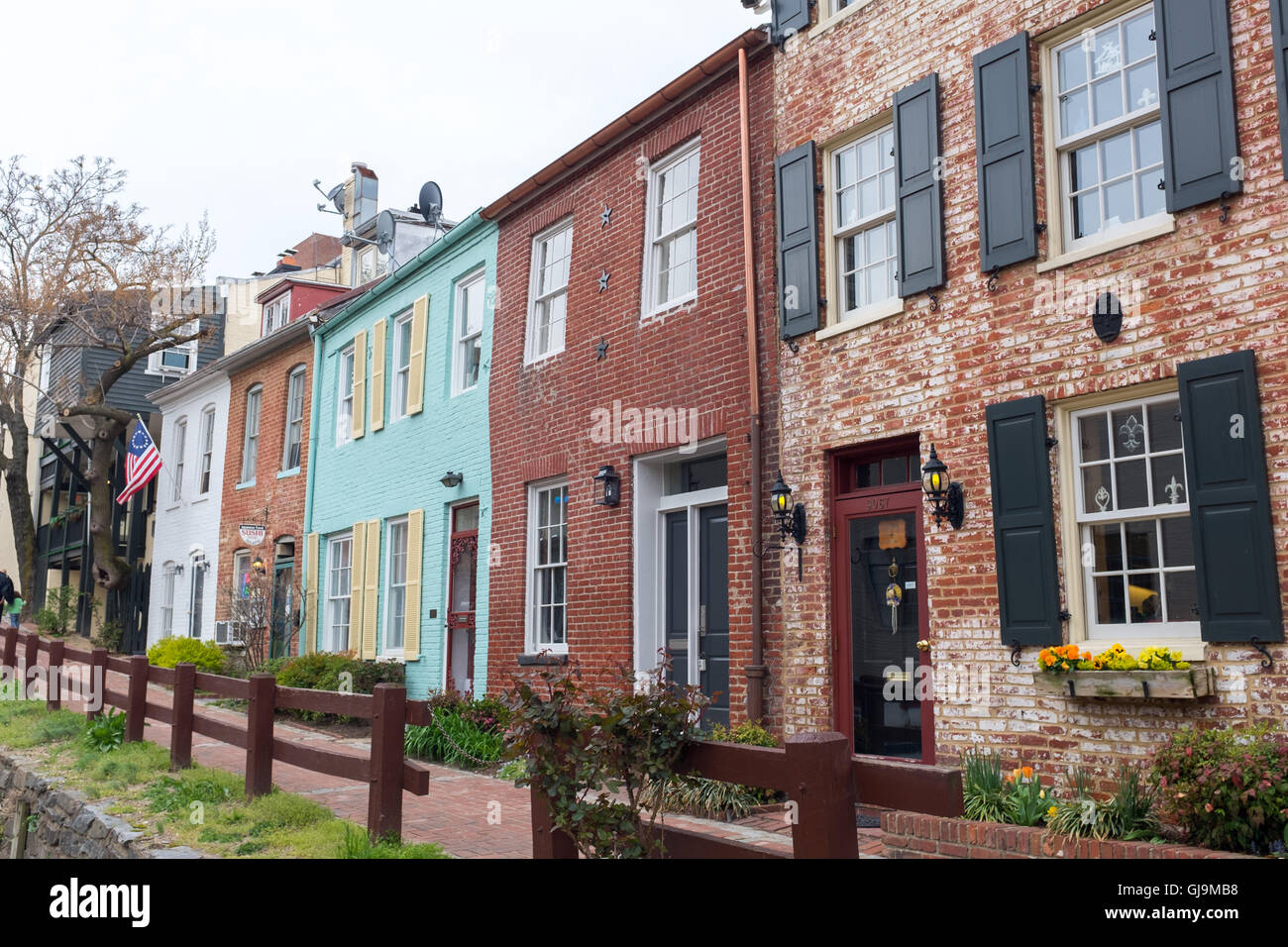 Washington DC USA Typical houses in Georgetown. Stock Photo