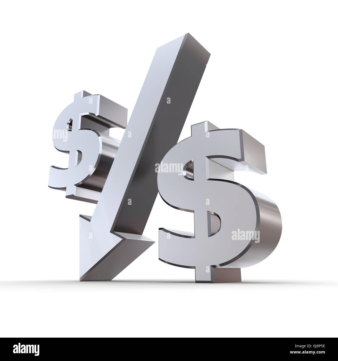 Shiny Dollar Percentage Down - Stock Image