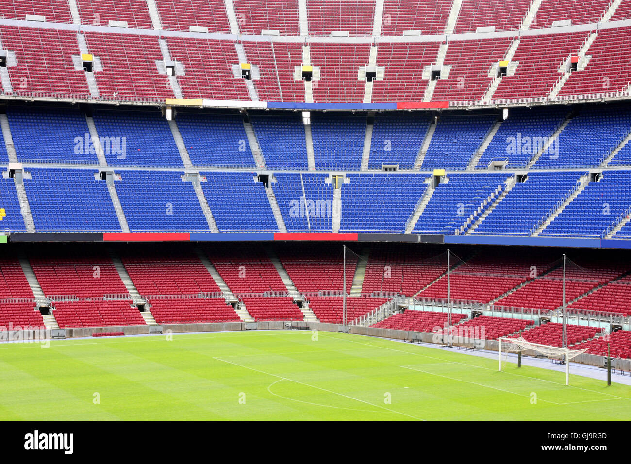 view of Nou Camp Stadium in Barcelona Stock Photo