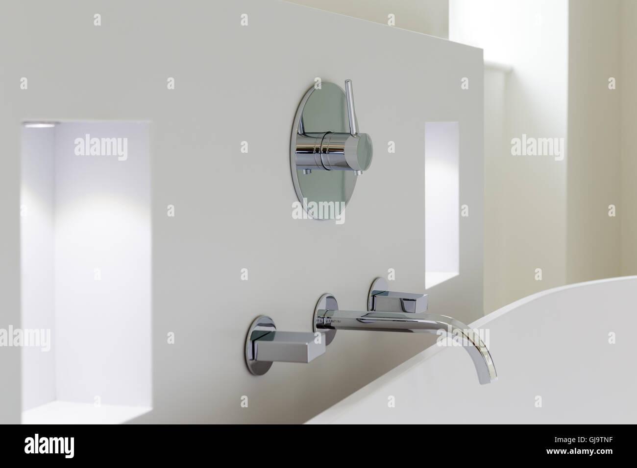 Modern stylish bathroom taps - Stock Image