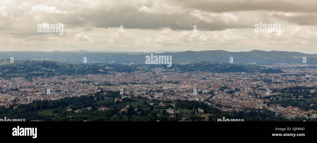 View across Florence from Fiesole, Tuscany, Italy - Stock Image
