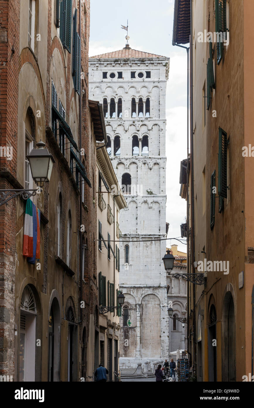 Street view in Lucca, Tuscany, Italy - Stock Image