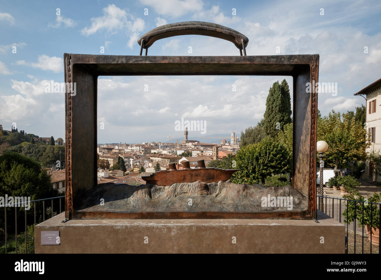 Art work by Jean-Michel Folon in Florence, Italy - Stock Image