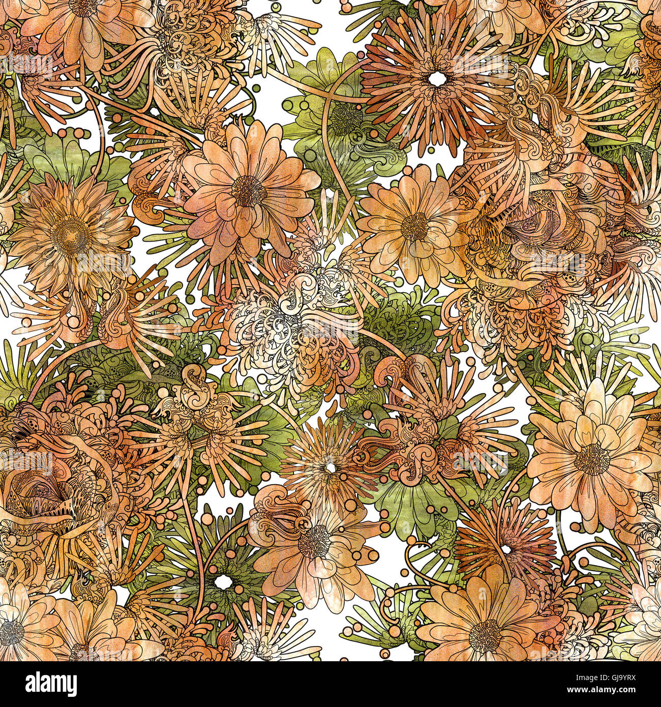 seamless floral pattern,beautiful wallpaper with orange and green flowers,watercolor - Stock Image