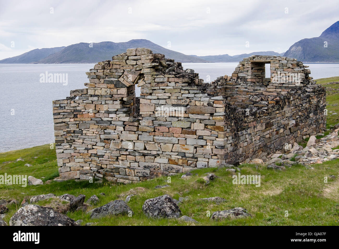 Hvalsey Church ruin built by Norse settlers in 12th century was first Christian church the in country. Qaqortoq - Stock Image