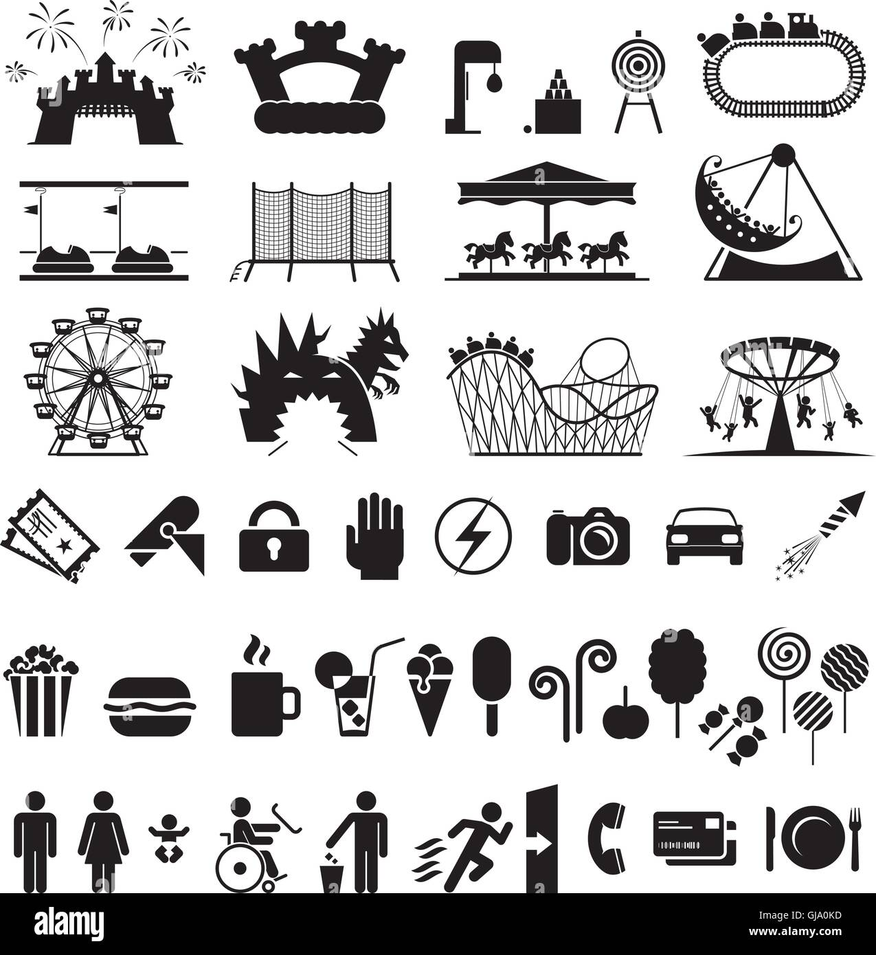 Amusement park icons. - Stock Vector