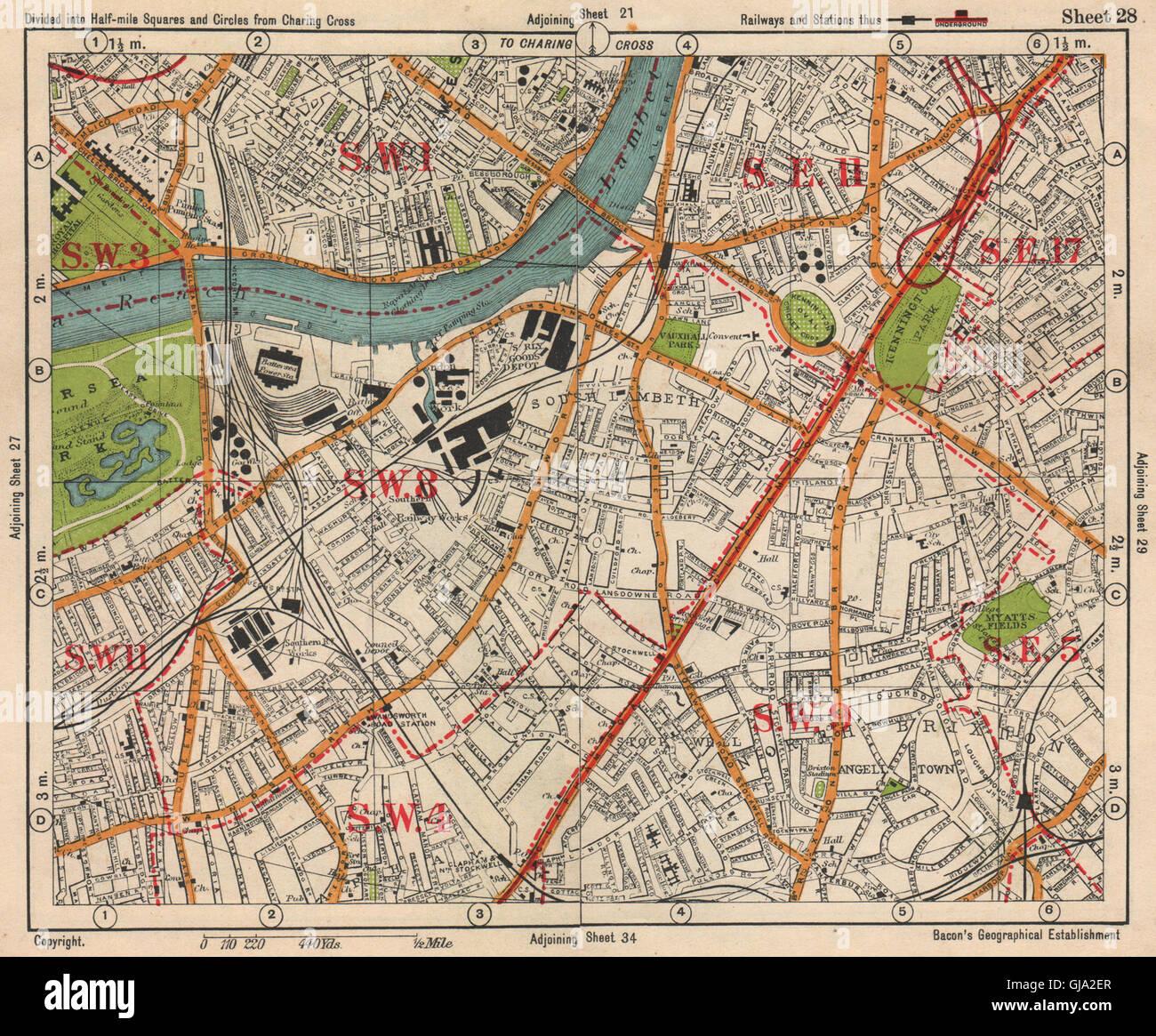 Pimlico London Map.S London Kennington Battersea Pimlico Brixton Lambeth Clapham Stock