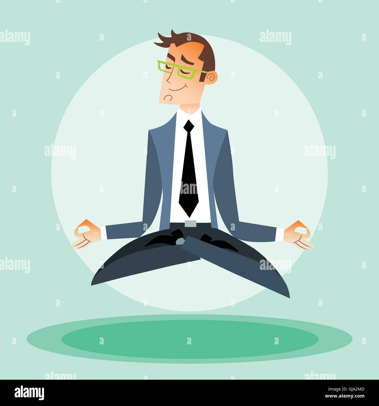 Businessman engaged in yoga - Stock Vector