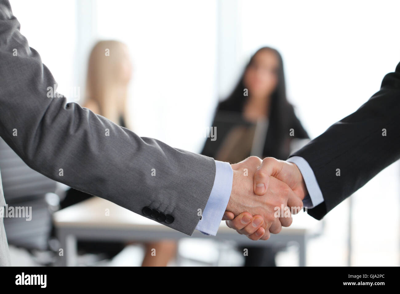 Close-up of handshake of businessmen on meeting in office - Stock Image