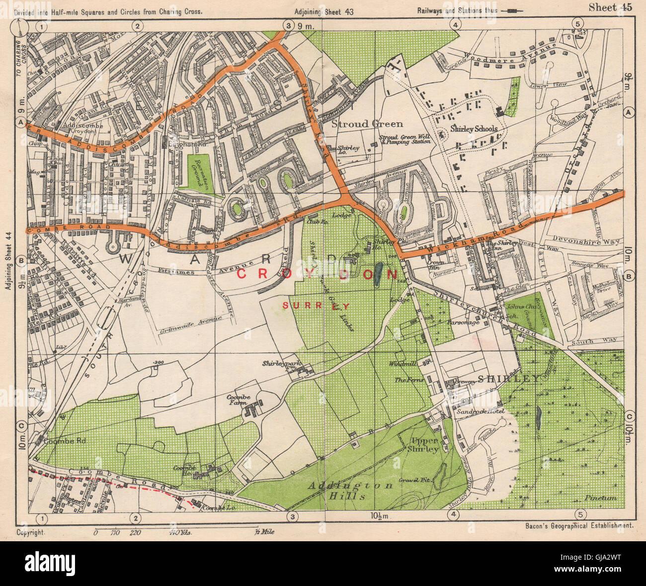 Map South East London.South East London Shirley Addiscombe E Croydon Stroud Green Bacon