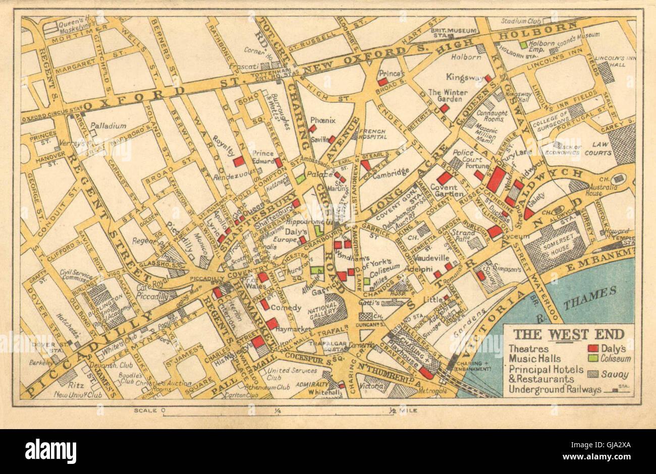 london west end theatres cinemas principal hotels restaurants bacon 1933 map