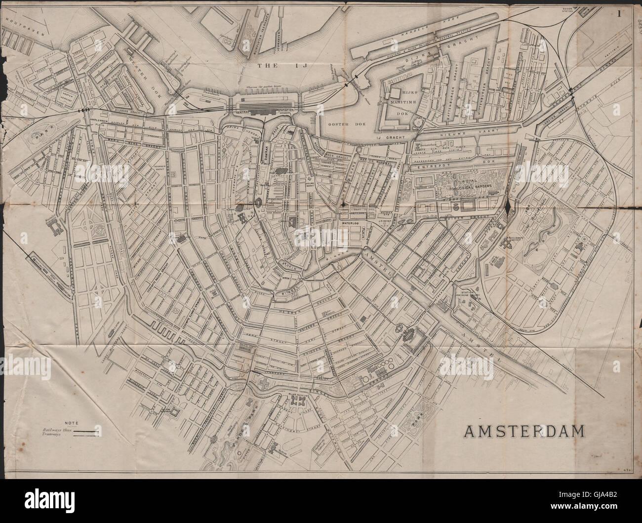 AMSTERDAM. Antique town plan. City map. Netherlands. BRADSHAW, 1895 ...