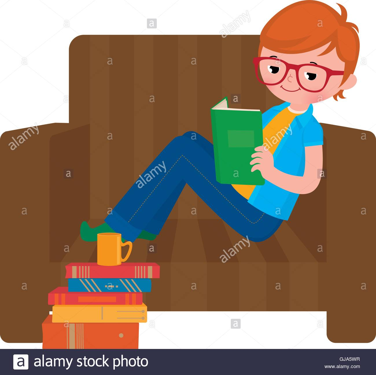 Prime Child Boy Reading A Book Sitting In A Chair Stock Vector Art Gmtry Best Dining Table And Chair Ideas Images Gmtryco