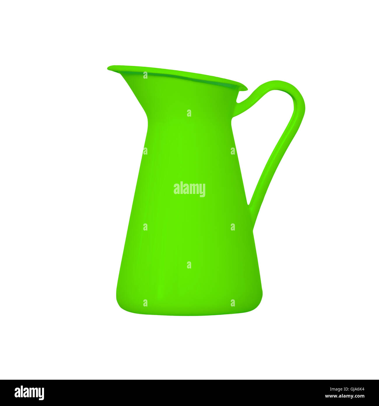 Storage for liquids - Green jug ewer on a white background. Stock Photo