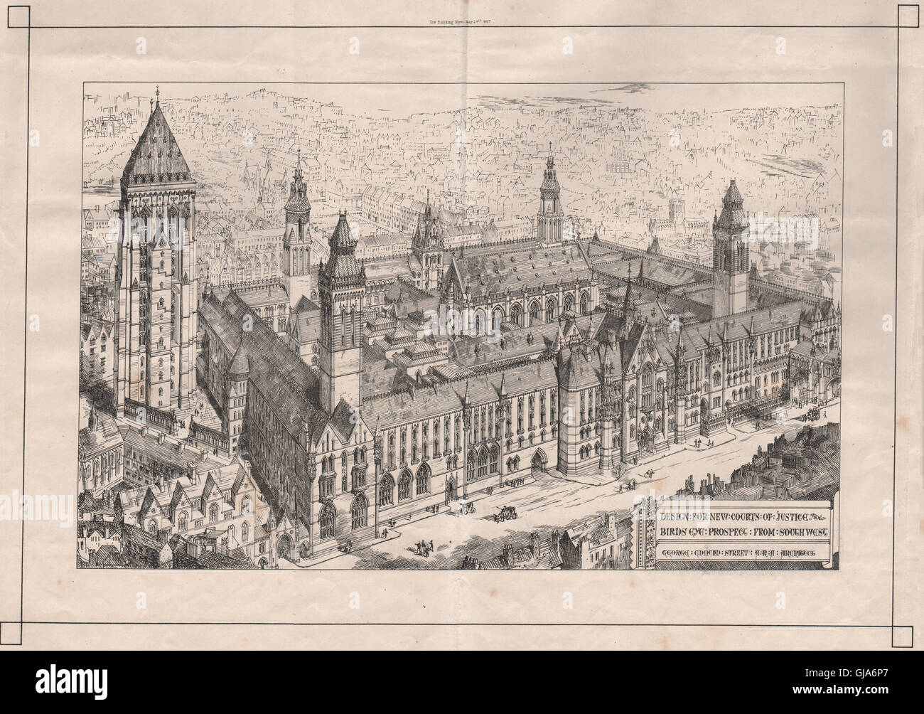 New Courts of Justice; birds-eye view; George Edmund Street, Architect, 1867 Stock Photo