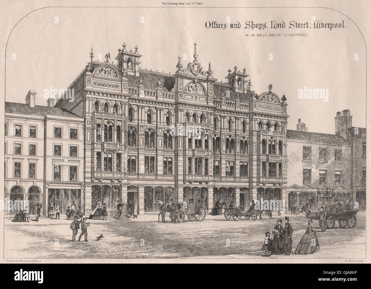 Offices and Shops. Lord Street. Liverpool; H.H. Vale Architect, Liverpool, 1867 Stock Photo
