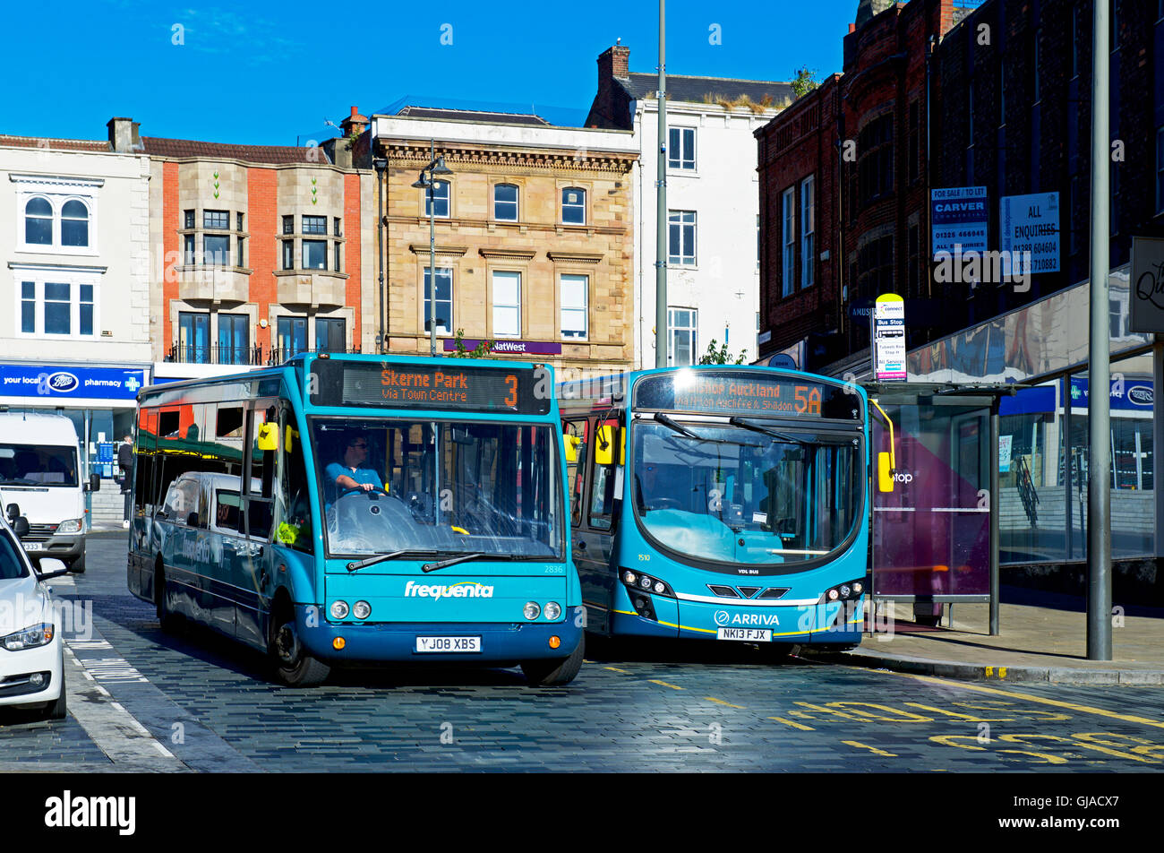 Buses in Darlington, County Durham, England UK - Stock Image