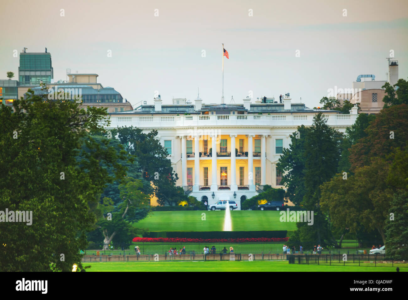 The White House building in Washington, DC in the evening - Stock Image
