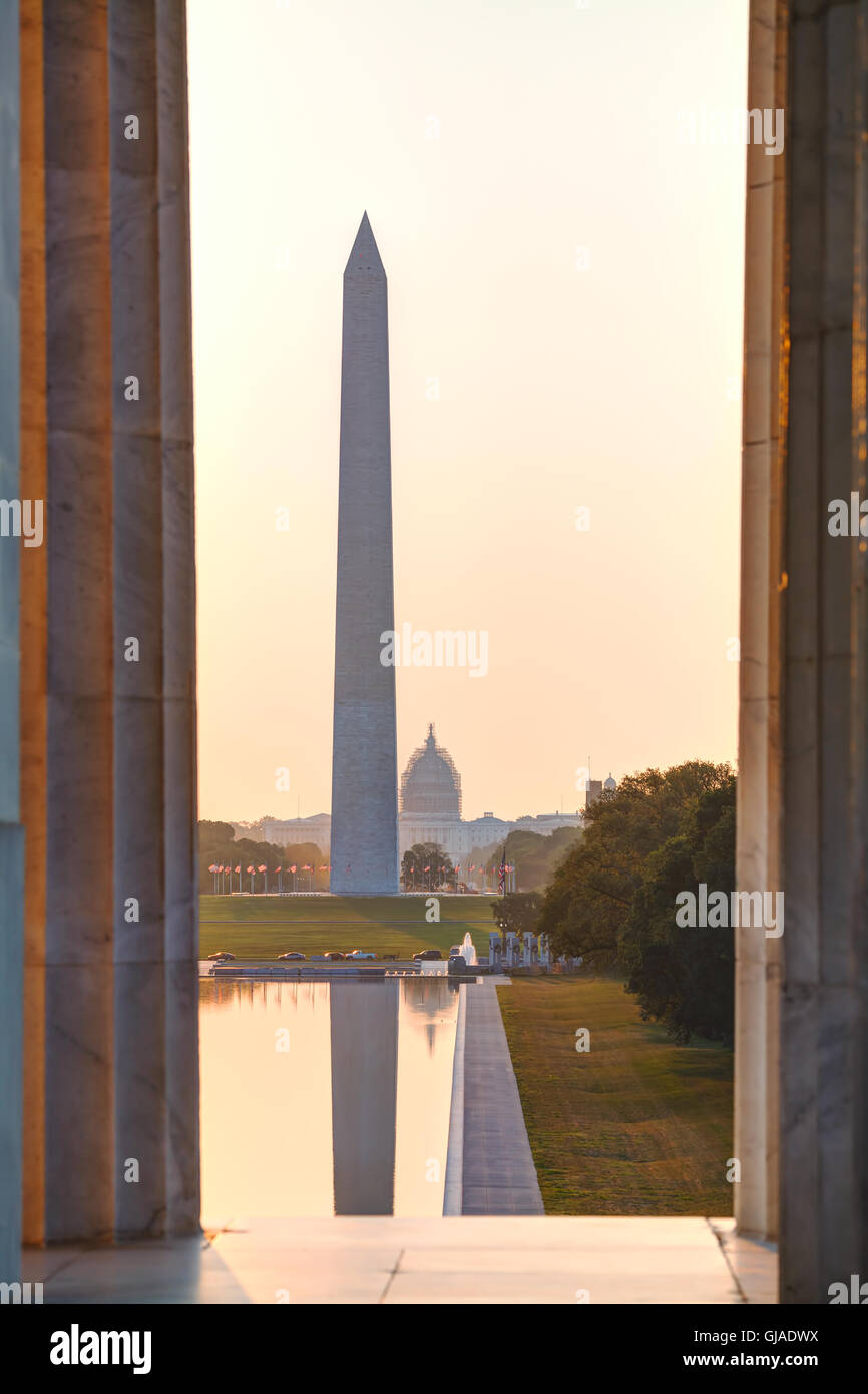 Washington Memorial monument in Washington, DC in the morning - Stock Image