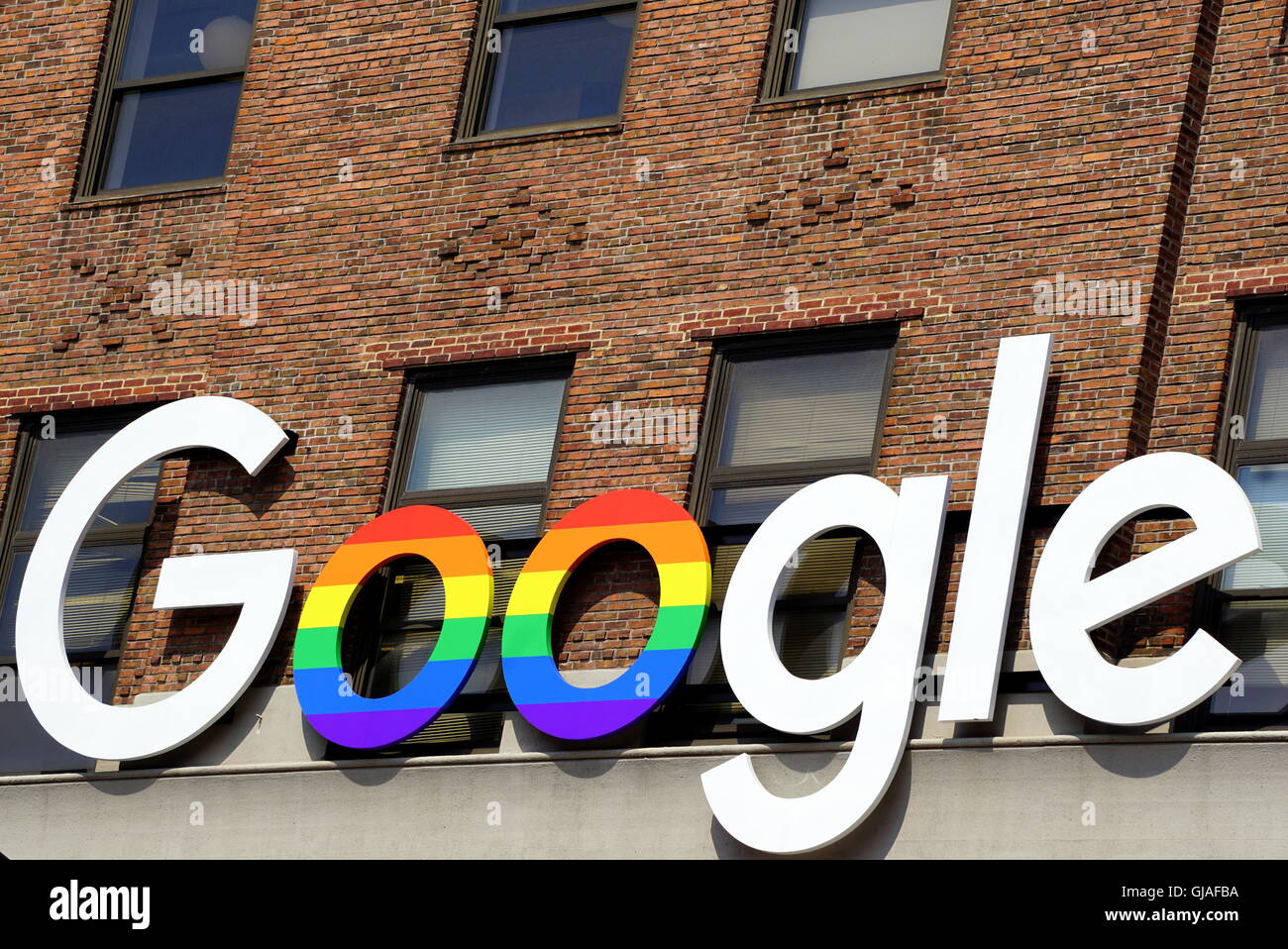 google office in usa california google google office former port authority building in chelsea new york city ny usa