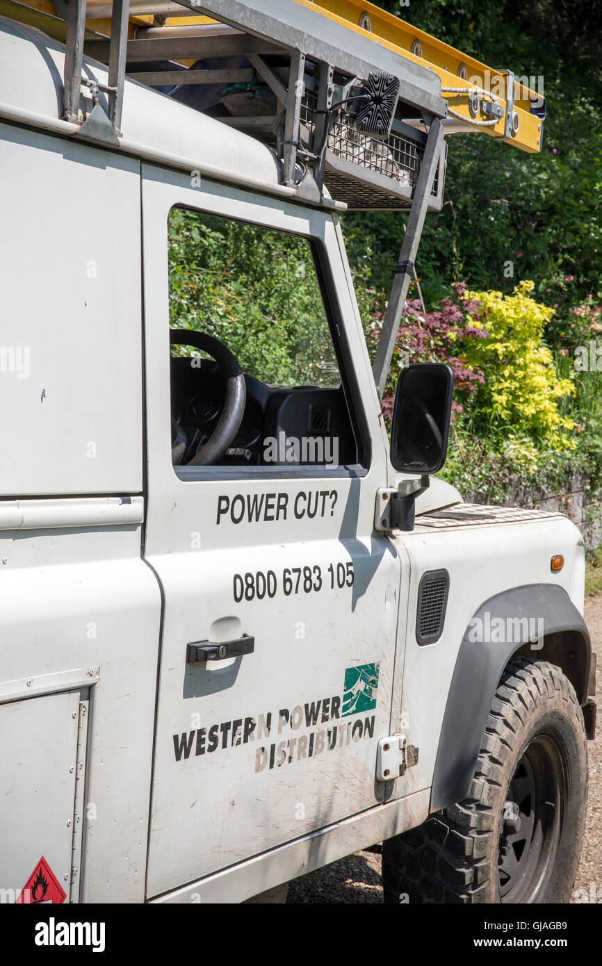 Western Power Distribution landrover, Western Power  four electricity distribution companies - WPD South West, WPD Stock Photo