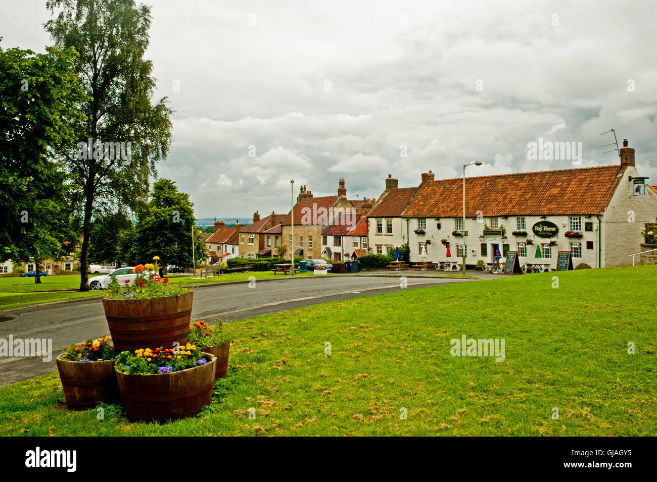 Village Green and The Bay Horse, Heighington, Borough of Darlington - Stock Image