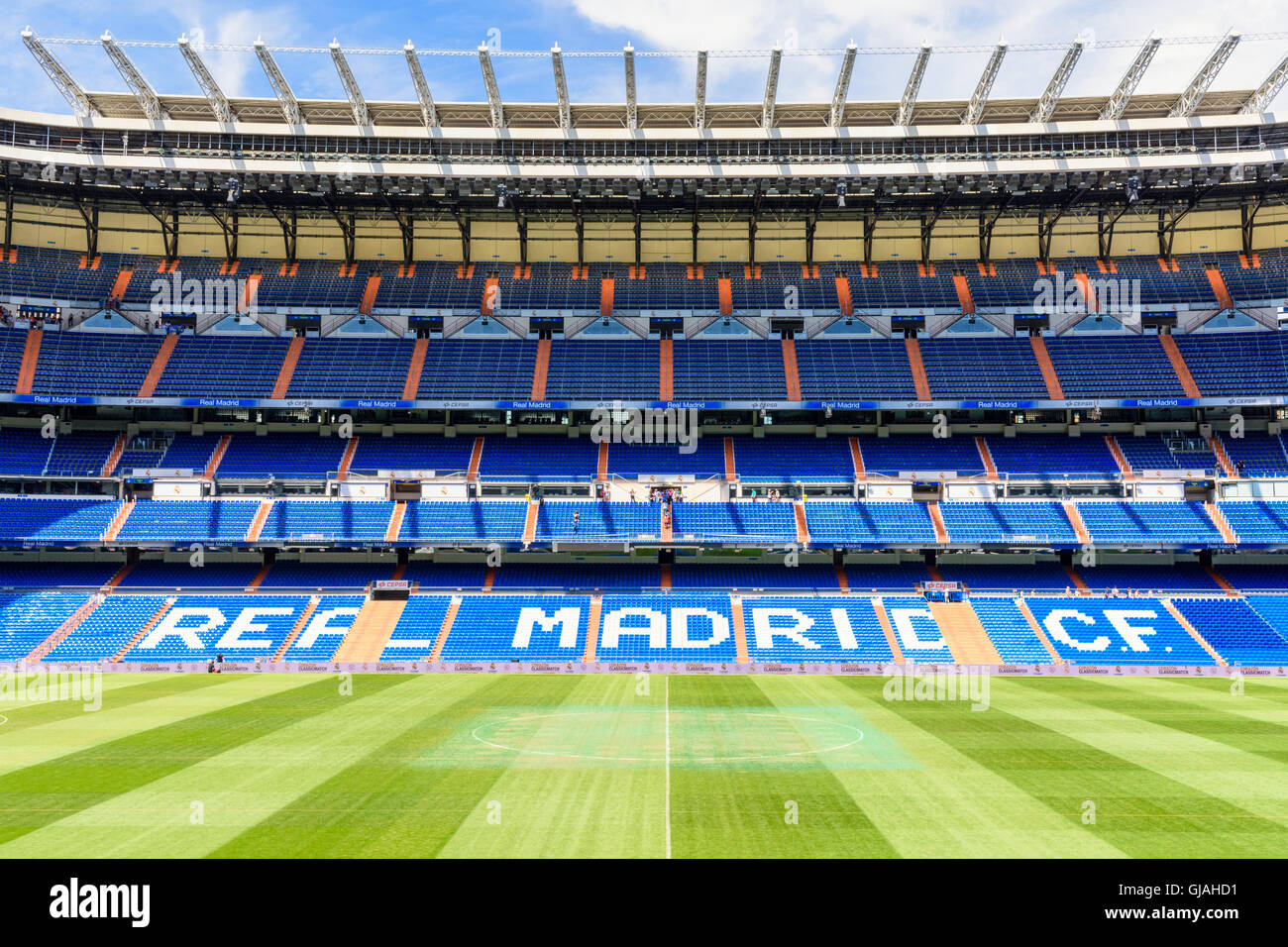 Stand and pitch at the Santiago Bernabeu Stadium, home of Real Madrid, Chamartin, Madrid, Spain - Stock Image