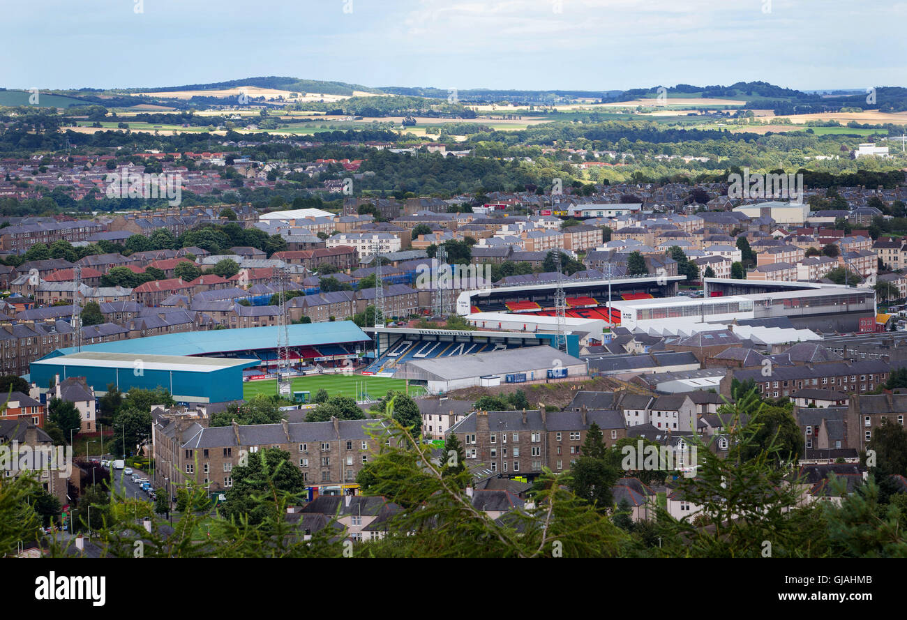 General View from Dundee Law showing Dens Park home to Dundee Football Club and Tannadice home to Dundee United - Stock Image