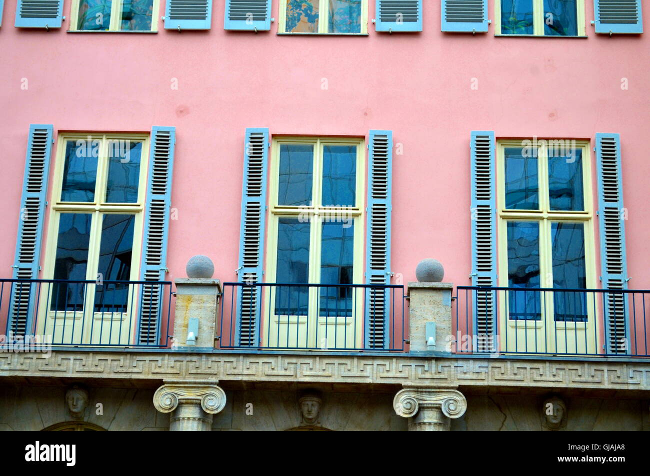 neoclassicism with windows facade in central berlin - Stock Image