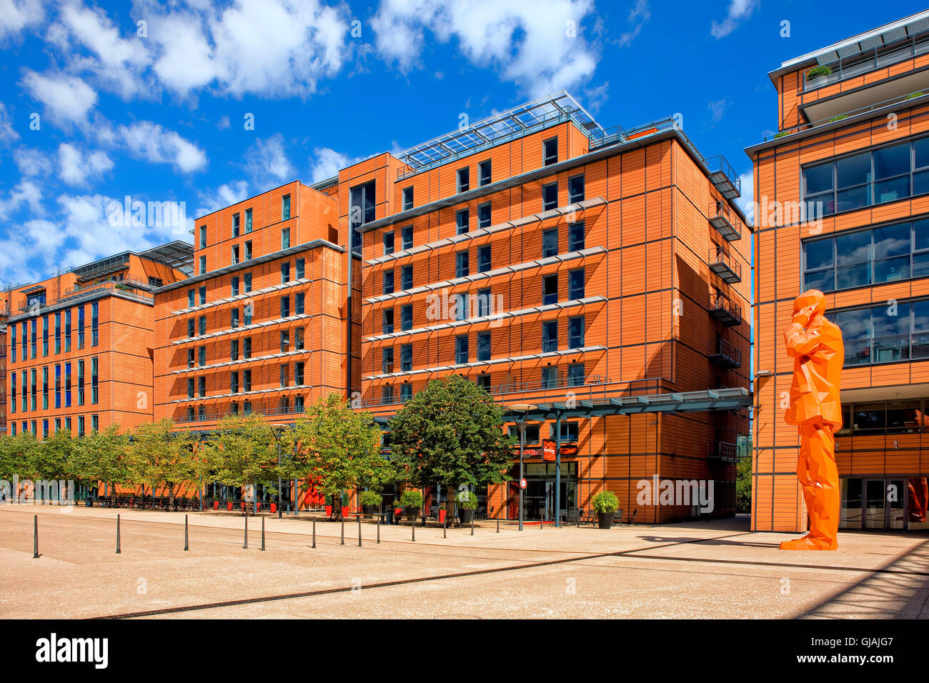 Modern architecture in the cite Internatinale in Lyon, France - Stock Image