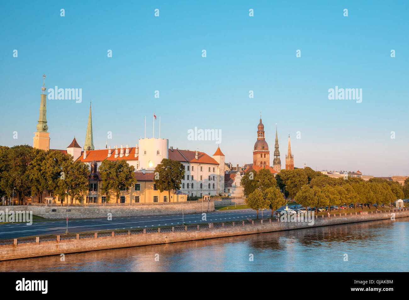 Scenic View To Promenad Of Daugava, In Riga, Latvia. Old Church Towers And Medieval Castle On Background. Seafront - Stock Image