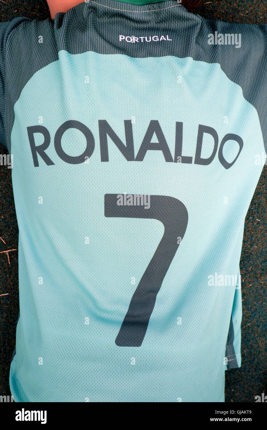 b4e84ddd283 Child fan wearing Cristiano Ronaldo 7 green Portugal Euro 2016 football  shirt UK KATHY DEWITT -