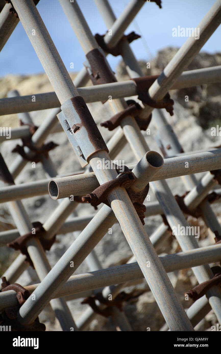 Abstract metal lines of an abstract scaffolding close up - abstract pipes - Stock Image